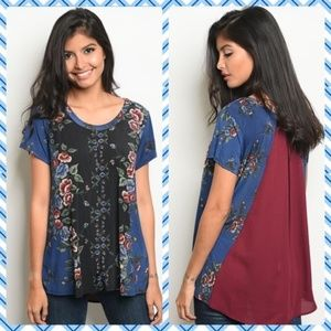Gilli Wine and Blue Shirt NWT